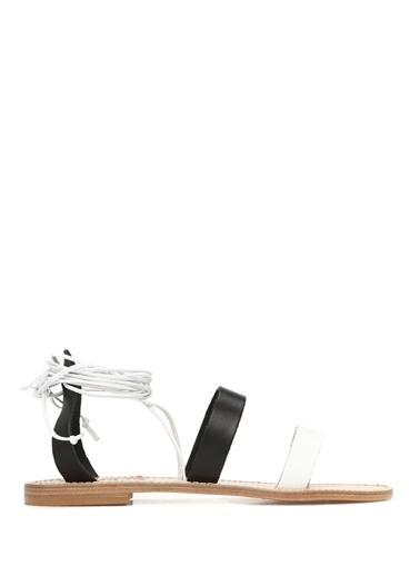 Capri Positano Sandals Capri Positano Sandals Bilek Bağlamalı Bantlı Deri   Kadın Sandalet Siyah